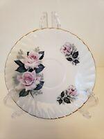 Vintage Elizabethan Fine Bone China Plate White & Pink Roses w/Leaves Gold Trim