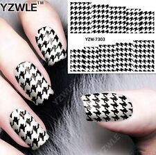 Black & White Dogtooth Nail Art Sticker Decal Decoration Manicure Water Transfer