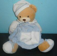 Doudou Peluche Range Pyjama Ours Bonnet Blanc Vichy Bleu Kaloo TTBE