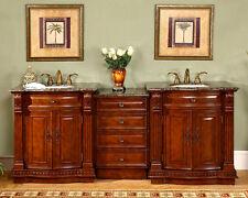 84.5-inch Modular Double Sink Bathroom Vanity Cabinet Granite Stone Top 0206BB