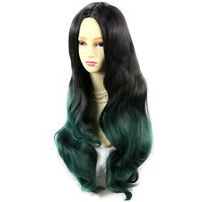 Amazing Black Brown & Green Long Wavy Lady Wigs Dip-Dye Ombre Hair From WIWIGS