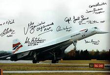 10 Signed CONCORDE Pilot Captain Autograph RARE Image 18x12 Photo AFTAL COA