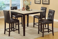 5 Pc Dining Set Counter Height Table Tuft Buttons Chair Faux Leather Dining Room