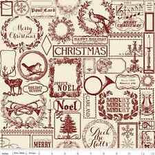 Fat Quarter Lost & Found Christmas Red Cotton Quilting Fabric - Riley Blake