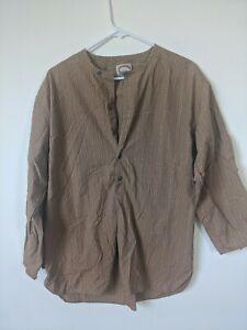 Vintage Men's Banana Republic Brown Striped Shirt Medium 70's