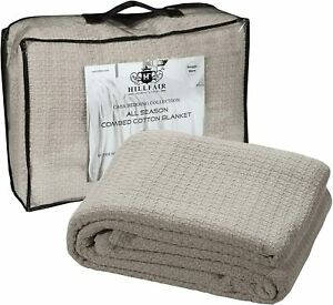 HILLFAIR 100% Soft Premium Combed Cotton Thermal Blanket– Twin Blankets – Soft C