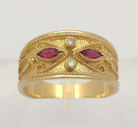 ♦♦ Ring in aus 14 kt 585er Gelb Gold mit Rubin Zirkonia Goldring Damen Gr. 58