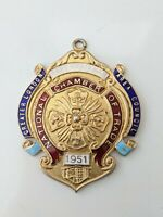 Sterling Silver & Gold Enamel Fob Medal 1951 Greater London Area Council Trade