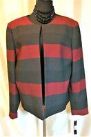 NWT Tahari Arthur S Levine 16 Red Black Gray Wide Stripe Lined Blazer Jacket