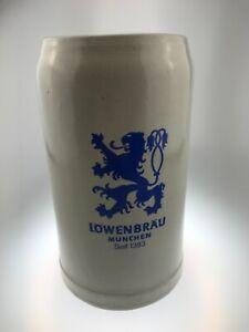 Lowenbrau Munich Stoneware German Beer Stein Mug 1 Liter Ceramic Germany