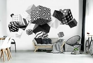 123x86 inch Wall mural photo wallpaper 3D Perspective Black & White cubes + glue