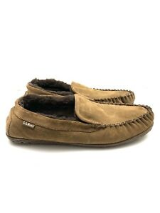 LL Bean Wicked Good Slippers Sheepskin Lined Brown 71341 Men's Size 12