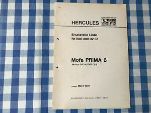 Original Ersatzteile Liste Sachs Hercules Prima 6  1979