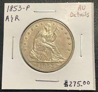 1853-P U.S. SEATED LIBERTY HALF DOLLAR ~ AU DETAILS! $2.95 MAX SHIPPING! C1791