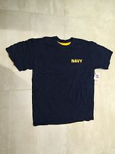T SHIRT USN, REVERSIBLE, 100% COTTON/NAVY/GOLD,NEW OLD STOCK, LARGE