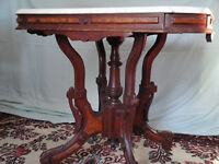 Antique. Victorian Marble Topped Entry Table. Mahogany