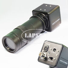 100X Digital Industrial Microscope Camera BNC AV TV Video w Zoom C Mount  Lens S