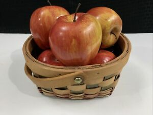 """Vintage Artificial Fake Realistic 6 Pacific Rose Apples Red 2.75"""" x 3"""" Basket"""