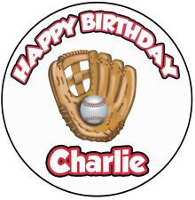"Personalised Baseball Birthday 8"" Circle Icing Cake Topper Decoration Kids Adult"