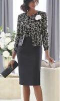 Ashro Black White Formal Wedding Party Church Joyce Jacket Dress 10 16 20W Plus