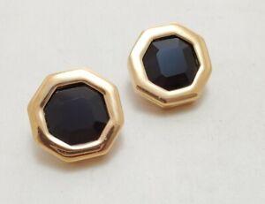 BLACK OCTAGON SWAROVSKI S.A.L. Earrings Gold Tone Pierced Signed
