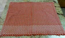 "WOVEN RED CLOTH WEAVE VINTAGE 23 X 17"" CRAFT VALENTINE, CHRISTMAS, HOLIDAY DECOR"