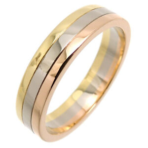 Cartier ring Three color gold Trinity Wedding ring 60 US size 10 Auth
