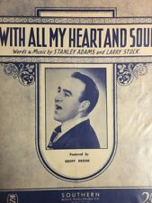 "GEOFF BROOK -""With All My Heart And Soul"" VINTAGE SHEET MUSIC AUSTRALIA (M380)"