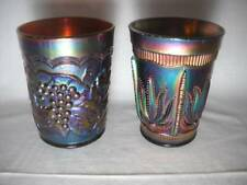 Two Carnival Glass Tumblers Blue Fenton Cactus & Amethyst Imperial Grape