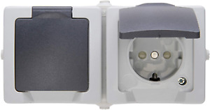 Kopp 137056002 Nautic 2-fach Steckdose Aufputz Doppelschalter Feuchtraum IP44