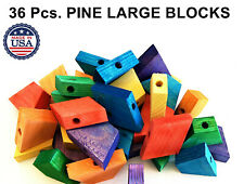 Large Colored wood blocks parrot bird parts cage toy african grey cockatoo