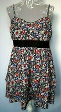 Red Herring Dress UK 14 Black Ditzy Little Flowers Pretty Layered Short Strappy