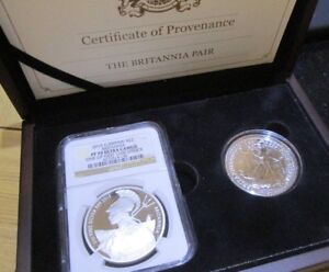 2015 NGC SLABED & GRADED PF 70 ULTRA CAMEO & 2016 BRITANNIA BOXED SET OF 2 COINS