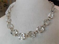 Vintage Simmons gold filled faceted clear crystal beaded necklace