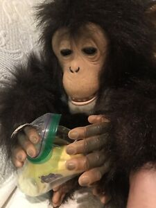 Hasbro 2005 Monkey FurReal Friends Tiger Cuddle Chimp Interactive Plush ~Works!!