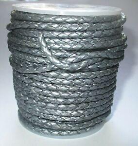 Geflochtenes Lederband 3 mm Silbermetallic 1 -10 Meter lang Bolaband Lederschnur