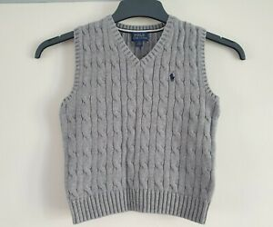 POLO RALPH LAUREN GREY CABLE KNIT SLEEVELESS TANK TOP AGE 4-5 / 5 YEARS
