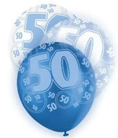 Blue Glitz 50th Birthday Age 50 Pack 6 Latex Party Balloons Suit Air Or Helium