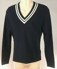 Lauren Ralph Lauren Women's Silk V Neck Sweater Navy Blue/White Sz Small Petite