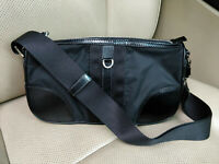 PRADA Womens Black Nylon Leather Shoulder Bag Satchel Purse Baguette Evening