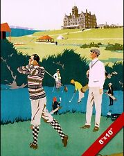 VINTAGE CRUDEN BAY ABERDEENSHIRE GOLF VACATION AD POSTER ART REAL CANVAS PRINT