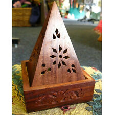 WOODEN PYRAMID INCENSE BURNER CONE HOLDER Sheesham Wood ASH CATCHER 13cm