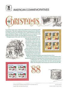 #319 25c Christmas 1988 #2399-2400 USPS Commemorative Stamp Panel