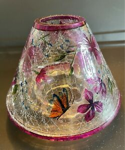 Yankee Crackled Glass Large Candle Shade Purple Flowers & Butterfly