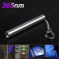 88mm Stainless 365nm UV Flashlight Mini Agate Jade White Yellow Keychain Light