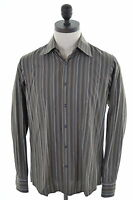 Hugo Boss Mens Shirt Size 40 15 1/2 Medium Brown Stripes Cotton Vintage