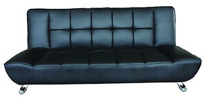 Barletta Modern Leather Sofa Bed in Black / Chequered Back Leather Chair