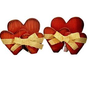 Red Wooden Triple Hearts Table Home Decor With Tan Burlap Bow