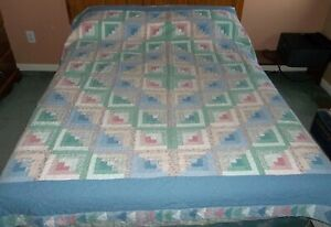 "Vintage Handmade Flying Geese Hand Quilted 83"" x 82"" Quilt in Blue Green Pink"