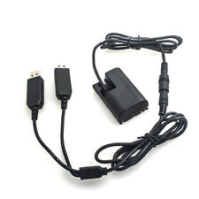 Dummy Battery Spring Power Adapter + Dual USB Cable For Canon LPE6 EOS 5D4 7D 6D